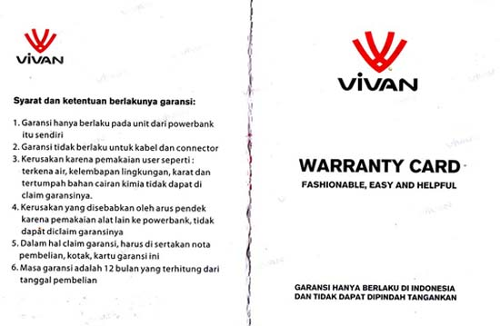 Garansi Power Bank Vivan
