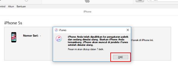 iPhone Berhasil di Reset Ulang