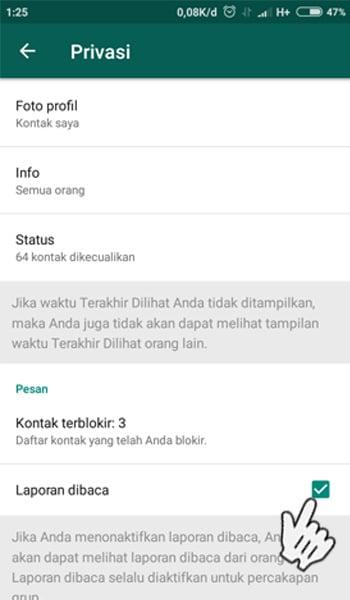 Matikan Pengaturan Tanda Centang Biru di WhatsApp