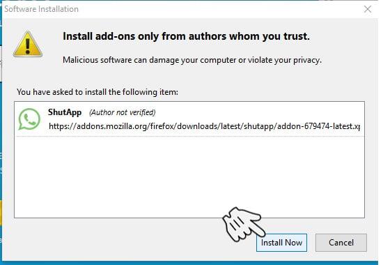 Instll ShutApp di Mozilla Firefox