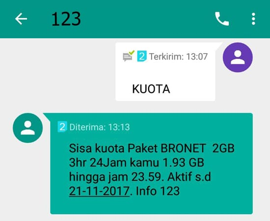 Cek Kuota Internet Melalui Via SMS