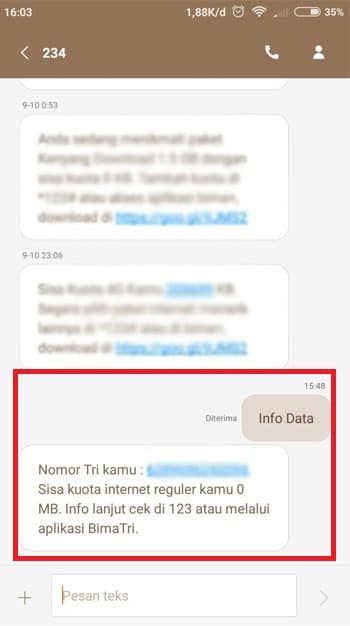 Pemberitahuan SMS Sisa Kuota Data Tri