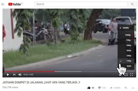Memilih Kualitas Video YouTube