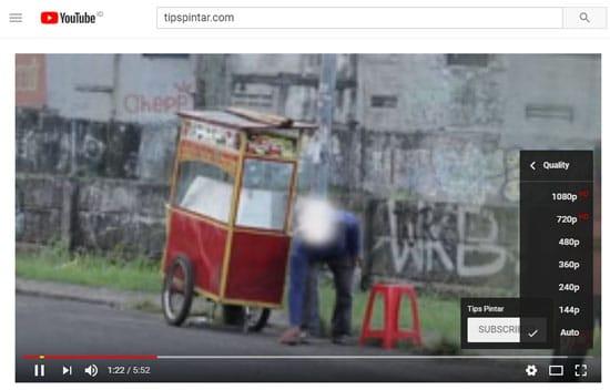 Memilih Kualitas Video di YouTube