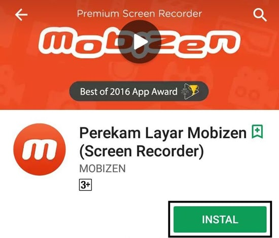 Install Aplikasi Mobizen Screen Recorder