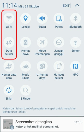 Matikan Wifi atau Jaringan Seluler