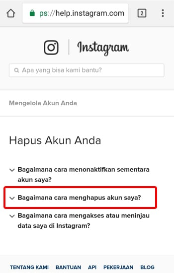 pilih Bagaiman Cara Menghapus Akun Instagram