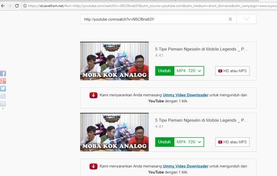 Pilih Format Video dan Download