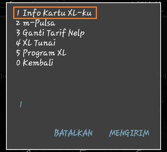 Pilih Menu Info kartu XL-ku