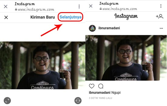 """Pilih """"Selanjutnya"""" untuk Meng-Upload Foto atau Video"""
