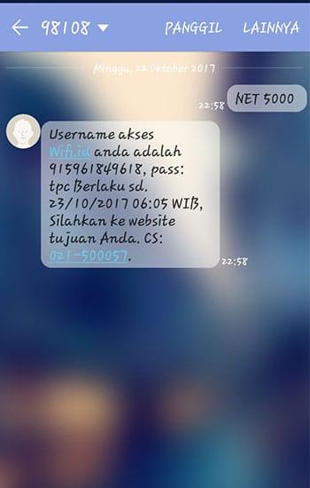 SMS Konfirmasi dari Wifi ID