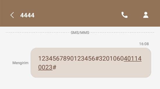 Contoh Registrasi Kartu Tri via SMS