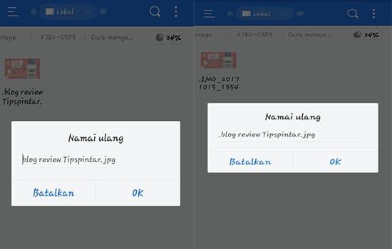 Ubah Nama File dan Berikan Tanda (.) Titik