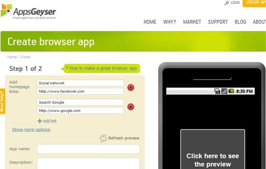 Website Apps Geyser