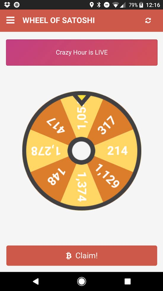 Aplikasi Free Bitcoin - Wheel of Satoshi