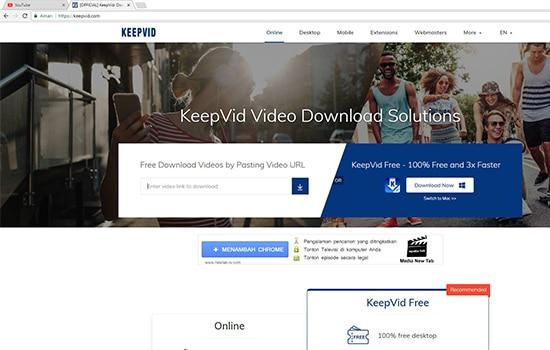 Buka Website KEEPVID dengan browser