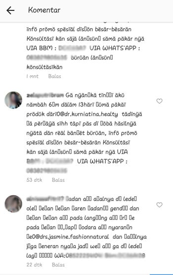 Komentar SPAM Instagram