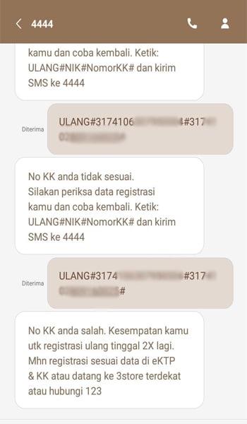 SMS Operator Gagal Registrasi