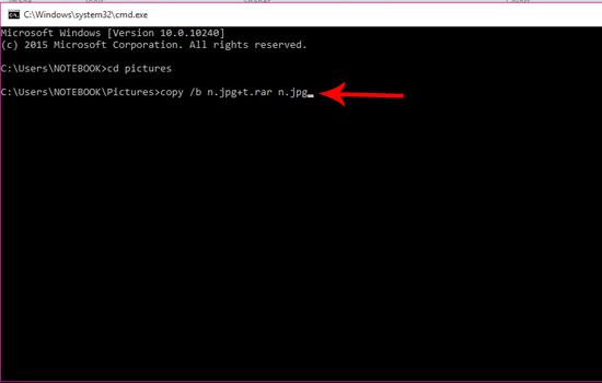 Ketik Script di Atas untuk Menyembuntukan File
