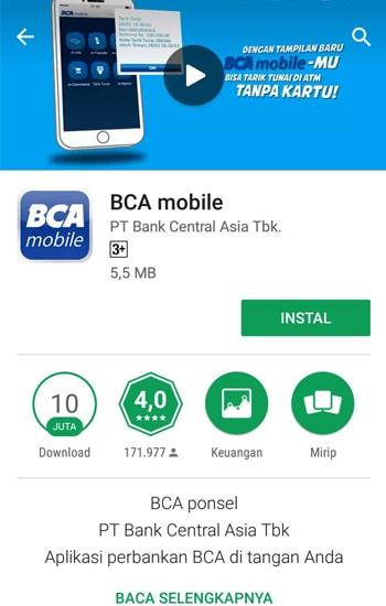 Install Aplikasi BCA Mobile