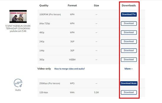 Pilih Kualitas Video dan Download