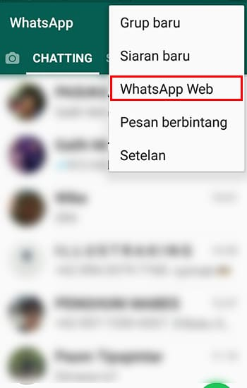 "Pilih Menu ""Whatsapp Web"""