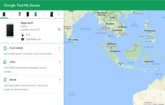 Tampilan Find My Device