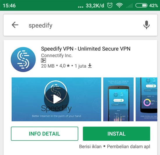 Install Aplikasi Speedify VPN