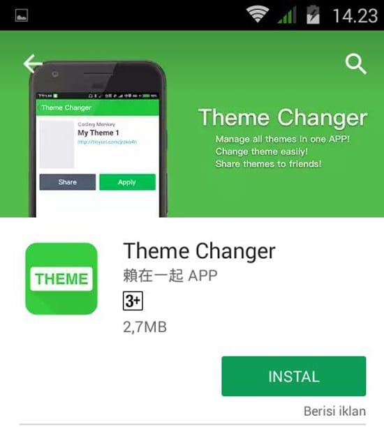 Install Aplikasi Theme Changer