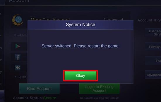 Klik Okay untuk Pindah Server