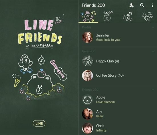 LINE Friends in Chalkboard