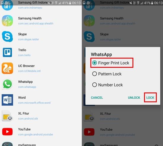 Pilih Aplikasi Lalu Lock