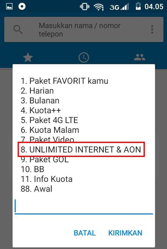 Pilih Menu Ulimited Internet & AON