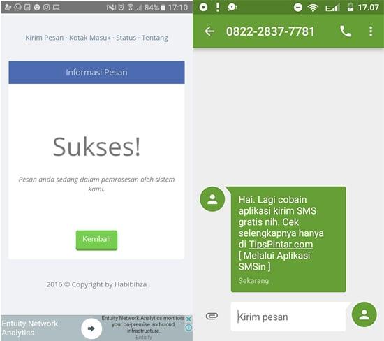 SMS Berhasil di Kirim