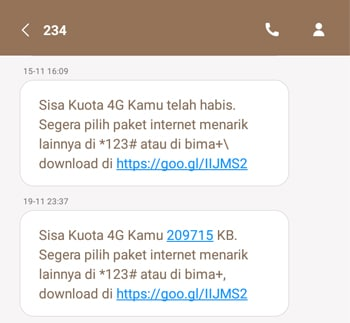 SMS Kuota Habis