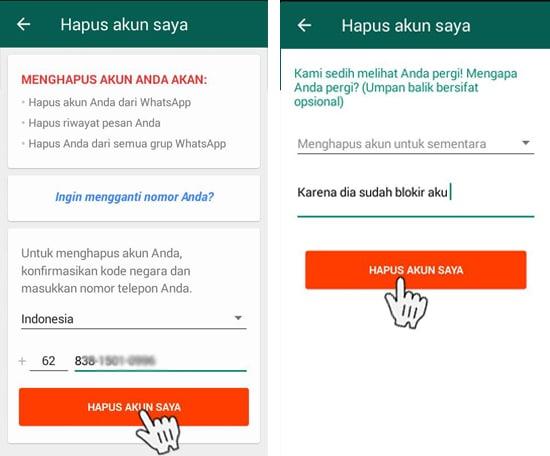 Hapus Akun WhatsApp