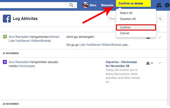 Delete Status Facebook