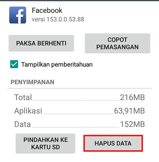 Hapus Data Aplikasi Facebook