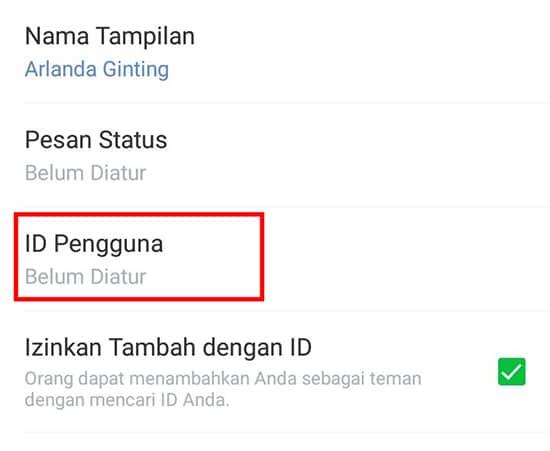 Pilih ID Pengguna