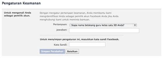 Penambahan Pertanyaan Facebook