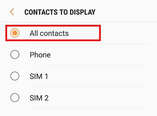 Pilih All Contact