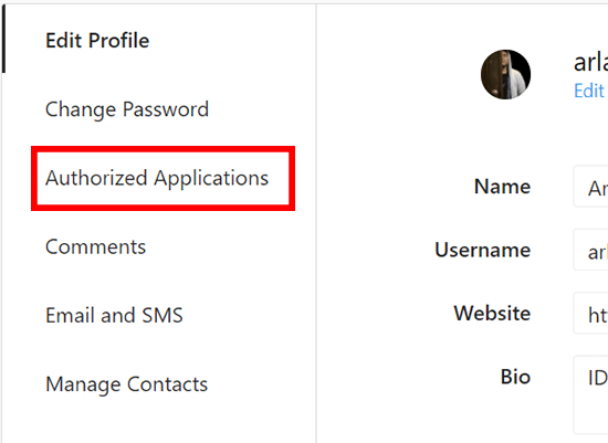 Pilih Authorized Applications