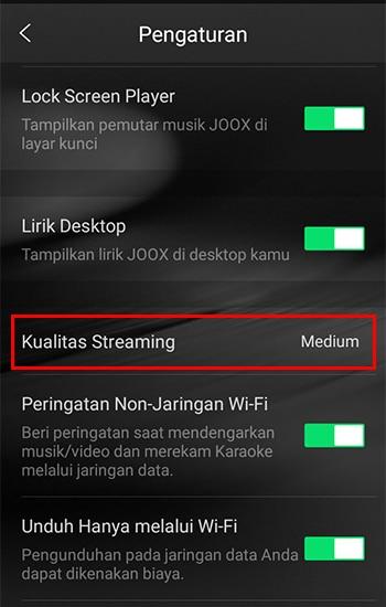 Pilih Kualitas Streaming