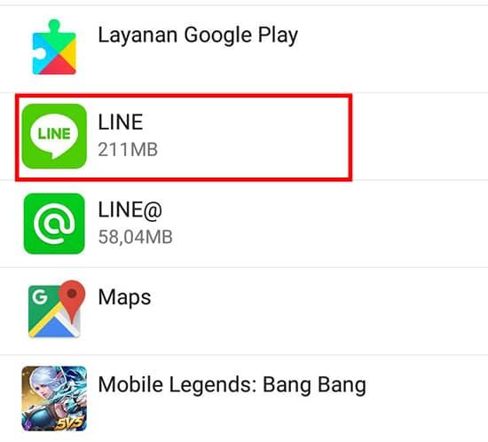 Pilih Aplikasi LINE