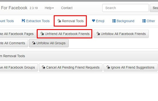 Pilih Removal Tool dan Unfriend All Facebook Friend