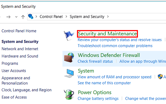 Pilih Security Maintenance