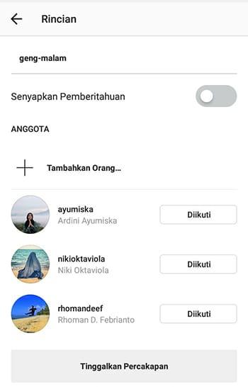 Chat Grup Instagram