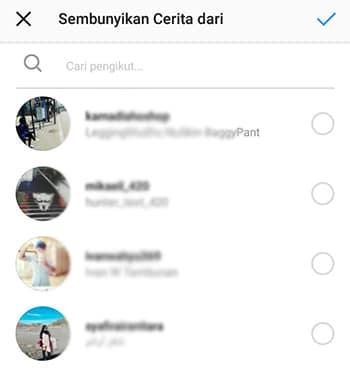 Menyembunyikan Instagram Stories