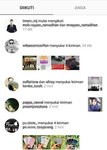 Mengetahui Aktifitas Following di Instagram