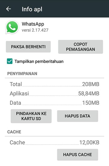 Hapus Cache dan Data Aplikasi